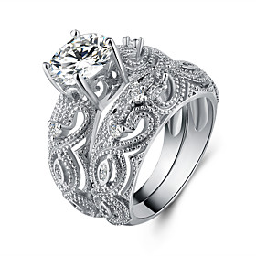 Women's Cubic Zirconia Double Twine Band Ring - S925 Sterling Silver Flower ..