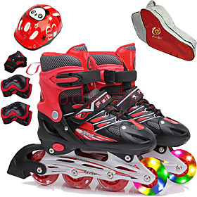 Girls' Inline Skates / Kneepad / Skate Bag Kid's Flash Adjustable, Ventilation ABEC-7 - Red, Blue, Pink