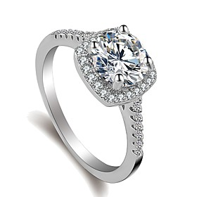 Women's Stylish Ring - Platinum Plated, Imitation Diamond Love, Happy Korean..