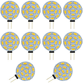 10pcs 2W G4 LED Bi pin Bulb Round 15 SMD 5730 DC / AC 12 24V Warm / Cold White