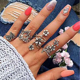 Women's Vintage Style Hollow Out Open Cuff Ring Ring Set Alloy Leaf Flower Ladies Vintage Bohemian Ring Jewelry Silver For Wedding Daily Masquerade Engagement