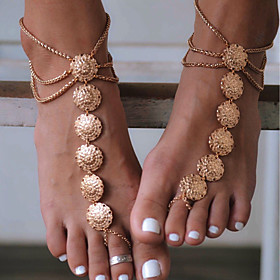 Women's Barefoot Sandals Flower Ladies Vintage Anklet Jewelry Gold / Silver For Daily Casual Sports Cosplay Costumes