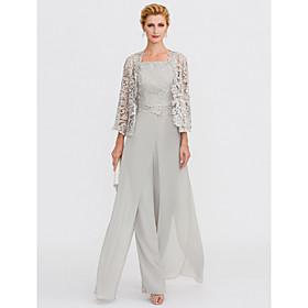 Pantsuit / Jumpsuit Square Neck Floor Length Chiffon / Corded Lace Sleeveless Elegant / Plus Size Mother of the Bride Dress with Lace / Appliques Moth