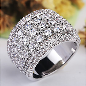Women's Stylish Stardust Halo Ring Copper Platinum Plated Imitation Diamond ..