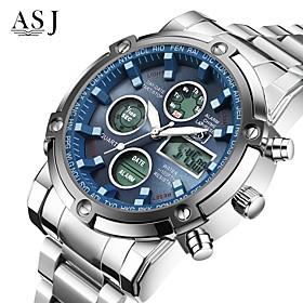 Asj Men's Sport Watch Wrist Watch Digital Watch Japanese Quartz Digital 30 M Water Resistant / Water Proof Chronograph Lcd Stainless Steel Band Analog Digital