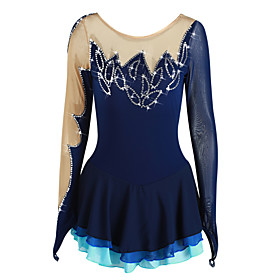 Figure Skating Dress Women's Girls' Ice Skating Dress Dark Blue Asymmetric Hem Spandex Elastane High Elasticity Competition Skating Wear Handmade Rhinestone Lo