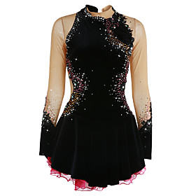 Figure Skating Dress Women's / Girls' Ice Skating Dress Black Spandex High Elasticity Competition Skating Wear Handmade Jeweled / Rhinestone Long Sleeve Ice Sk