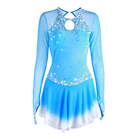 Figure Skating Dress Women's Girls' Ice Skating Dress Pale Blue Halo Dyeing Spandex High Elasticity Competition Skating Wear Handmade Solid Colored Long Sleeve