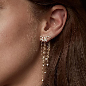 Women's Crystal Cubic Zirconia Tassel Drop Earrings - Imitation Diamond Drop, Creative, Star Tassel, Fashion Gold / Silver For Party / Evening Engagement Bar