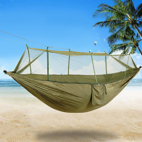 2 persons Camping Hammock with Mosquito Net Rope Bags Tie Wrap Padlock Moistureproof/Moisture Permeability Well-ventilated Ultra Light 6064283