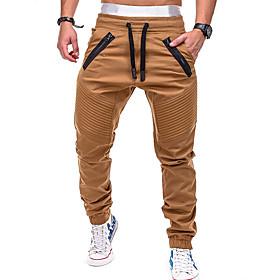 Men's Pocket Jogger Pants Running Pants Grey Khaki Dark Navy Sports Color Block Pants / Trousers Bottoms Fitness Gym Workout Plus Size Activewear Thermal / War