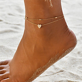 Layered Yoga Anklet Ankle Bracelet - Sweet Heart Bohemian, Fashion Gold / Silver For Gift Holiday Women's