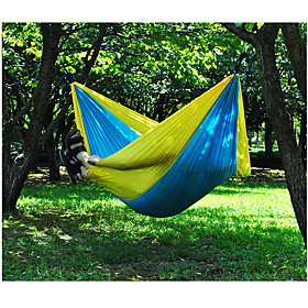 Camping Hammock Outdoor Portable, Moistureproof, Well-ventilated Nylon for Hunting / Fishing / Hiking - 2 person GreenGray / BluePink / Rose Pink / Blue 5146169