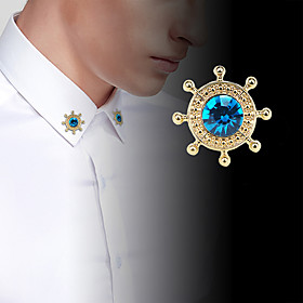 Men's Cubic Zirconia Classic Stylish Brooches Creative Anchor Luxury Fashion..