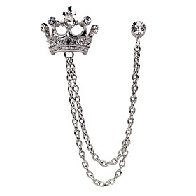Men's Cubic Zirconia Stylish Link / Chain Brooches Fashion Elegant British B..