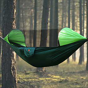 Camping Hammock with Mosquito Net Outdoor Rain-Proof, Breathability Nylon for Hiking / Camping - 2 person Orange / Dark Blue / Dark Green 6804993