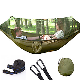 Camping Hammock with Mosquito Net Outdoor Portable Folding Moistureproof Well-ventilated 70D Nylon for 2 person Hiking Beach Camping - Dark Green Army Green Ro