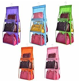 Double Side Transparent 6 Pocket Foldable Hanging Handbag Purse Storage Bag Sundry Tidy Organizer Wardrobe Closet Hanger