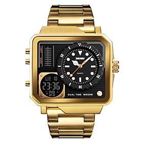 Skmei Men's Sport Watch Military Watch Japanese Digital 30 M Alarm Calendar / Date / Day Chronograph Stainless Steel Band Analog Digital Luxury Fashion Black /