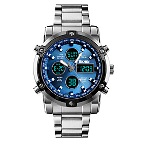 Skmei Men's Sport Watch Military Watch Digital 30 M Water Resistant / Water Proof Alarm Chronograph Stainless Steel Band Analog Digital Casual Fashion Black /