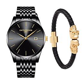 Men's Dress Watch Japanese Quartz 30 M Water Resistant / Water Proof Calendar / Date / Day Chronograph Stainless Steel Band Analog Luxury Elegant Black / Silve