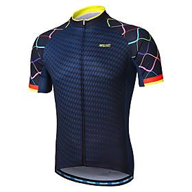 Arsuxeo Men's Short Sleeve Cycling Jersey - Navy Gradient Bike Jersey Reflective Strips Sweat-wicking Sports 100% Polyester Mountain Bike MTB Road Bike Cycling