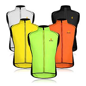 WOSAWE Men's Sleeveless Cycling Vest - Orange Green Black / Yellow Bike Vest / Gilet Windproof Reflective Strips Back Pocket Sports Mesh Patchwork Mountain Bik