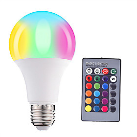 HRY 1pc 5 W 500 lm E26 / E27 LED Globe Bulbs A60(A19) 15 LED Beads SMD 5050 Dimmable Remote-Controlled Decorative RGBW 85-265 V / 1 pc / RoHS