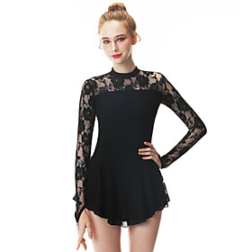 Figure Skating Dress Women's / Girls' Ice Skating Dress Black Swan Spandex, Stretch Yarn High Elasticity Professional / Competition Skating Wear Handmade Fashi