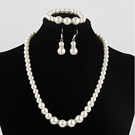 Women's Classic Jewelry Set - Imitation Pearl Sweet, Elegant Include Bridal Jewelry Sets White For Wedding Party