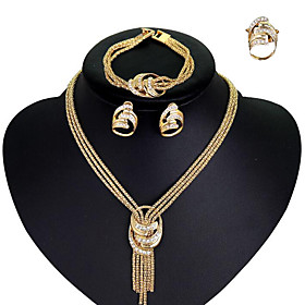Women's Cubic Zirconia Tassel Jewelry Set - Gold Plated Stylish, Tassel, European Include Bridal Jewelry Sets Gold For Wedding Party