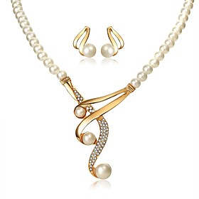 Women's Classic Jewelry Set - Imitation Pearl Elegant Include Necklace Earrings White For Evening Party Festival