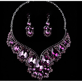 Women's Multicolor Cubic Zirconia Amethyst Jewelry Set Rhinestone Pear Statement, Ladies, Stylish, Luxury, Romantic, Elegant Include Drop Earrings Bib necklace