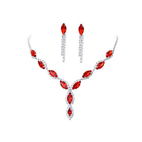 Women's Red Crystal Classic Jewelry Set Gypsophila Luxury Include Necklace Rose Red / Red / Blue For Wedding Party