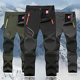 Men's Hiking Pants Softshell Pants Outdoor Thermal / Warm Windproof Breathable Winter Fleece Pants / Trousers Hunting Fishing Hiking Black Army Green Grey XXXL