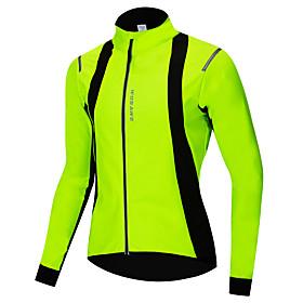 WOSAWE Men's Women's Cycling Jacket Bike Jacket Jersey Waterproof Windproof Sports Winter Green Mountain Bike MTB Road Bike Cycling Clothing Apparel Regular Bi