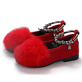 Girls' Shoes Faux Fur / Microfiber Spring   Fall Comfort Flats for Kids / Toddler Black / Gray / Red