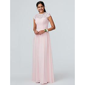 479e298c8634 Linea-A Con decorazione gioiello Lungo Chiffon Vestito da damigella con Di  pizzo di LAN