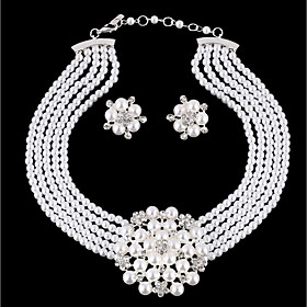 Women's Layered Jewelry Set - Imitation Pearl Flower Stylish, Unique Design Include Drop Earrings Necklace White For Daily
