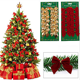 Holiday Decorations Christmas Decorations Christmas Ornaments Decorative Gold / Silver / Red 12pcs