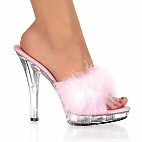 Women's Patent Leather Spring / Summer Club Shoes Clogs  Mules Stiletto Heel / Crystal Heel Feather Black / Red / Pink / Wedding / Party  Evening / Party  Even