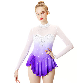 Figure Skating Dress Women's Girls' Ice Skating Dress Violet Halo Dyeing Spandex Stretch Yarn Lace High Elasticity Professional Competition Skating Wear Handma