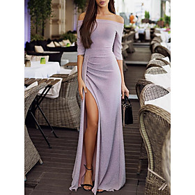 Women's Party New Year Eve Festival Sexy Elegant Maxi Slim Bodycon Dress Split Off Shoulder Navy Blue Gray Champagne XL XXL XXXL