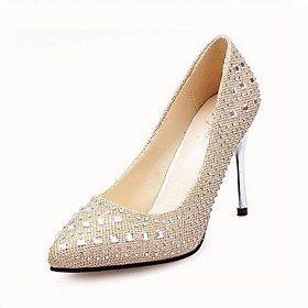 Women's Leatherette Spring / Summer Stiletto Heel Black / Silver / Gold / Party  Evening