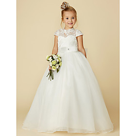 30f355cd3db Ball Gown Floor Length Flower Girl Dress - Lace   Tulle Short Sleeve High  Neck with