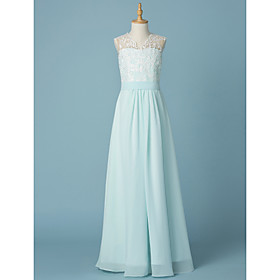 5794d091452e A-Line V Neck Floor Length Chiffon / Lace Junior Bridesmaid Dress with  Appliques /