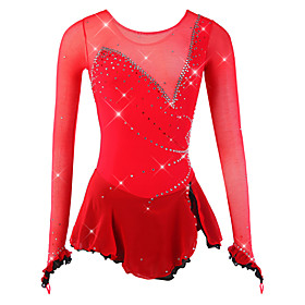 Figure Skating Dress Women's / Girls' Ice Skating Dress Red Spandex, Mesh High Elasticity Competition Skating Wear Breathable, Handmade Novelty / Fashion / Dum