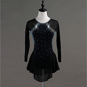 Figure Skating Dress Women's Girls' Ice Skating Dress Black Spandex Stretch Yarn High Elasticity Training Competition Skating Wear Quick Dry Anatomic Design Ha