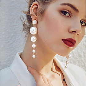Women's White Freshwater Pearl Beads Drop Earrings Pearl Earrings Ladies Stylish Elegant Jewelry White For Wedding Birthday Evening Party Masquerade Engagement