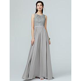 73e9d24eba20 Linea-A Con decorazione gioiello Lungo Chiffon   Di pizzo Vestito da  damigella con Di